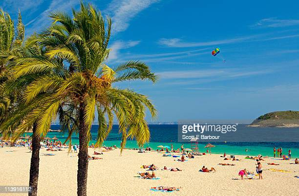 people at the beach. magaluf - majorca stock pictures, royalty-free photos & images