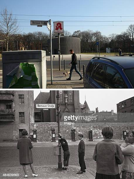 In this composite image a comparison has been made between Berlin in the 1960s and Berlin now in 2014 GERMANY JANUARY 01 People at the Berlin Wall in...
