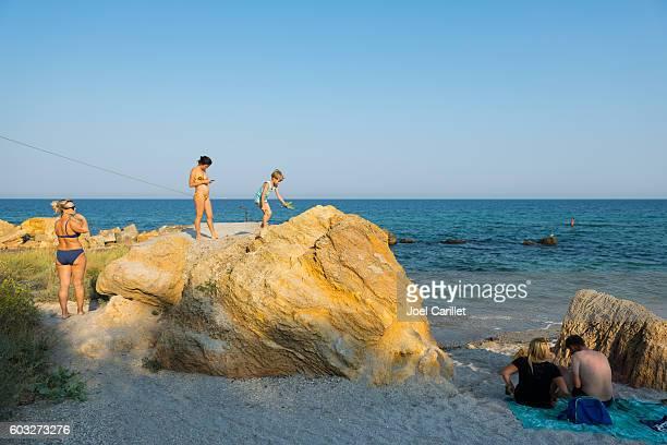 people at the black sea in odessa, ukraine - odessa ukraine stock photos and pictures