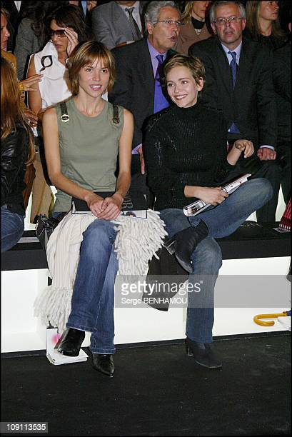 People At The Christian Dior SpringSummer 2004 ReadyToWear Show On October 8 2003 In Paris France Elsa Kikoine And Claire Borotra