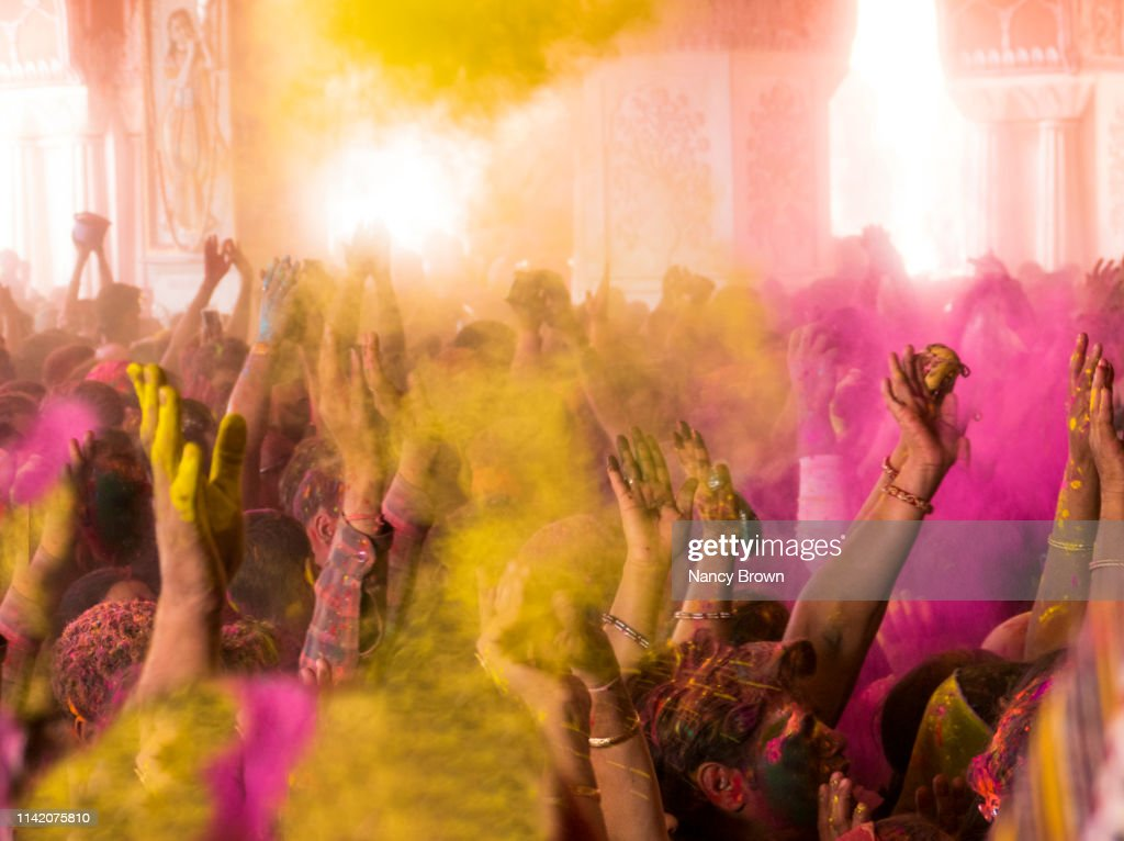 People at the Hindu Holi Festival in India. : Stock Photo