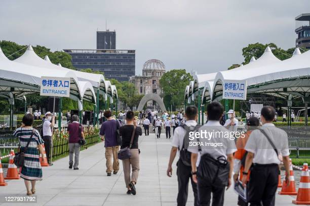 People at the Hiroshima Peace Memorial Ceremony Hiroshima marks the 75th anniversary of the US atomic bombing which killed about 150000 people and...