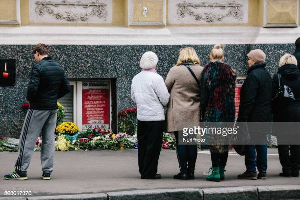 People at the improvised memorial in Kharkov Ukraine on 19 October 2017 after a violent car accident on 18 October 2017 night Five people died on the...