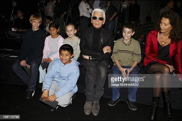People At The Karl Lagerfeld SpringSummer 2004 ReadyToWear Show On October 9 2003 In Paris France Designer Karl Lagerfeld