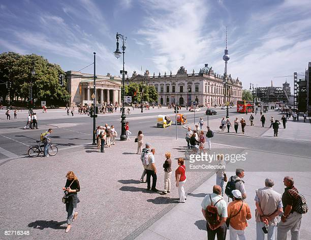 people at the unten den linden boulevard in berlin - boulevard stock pictures, royalty-free photos & images