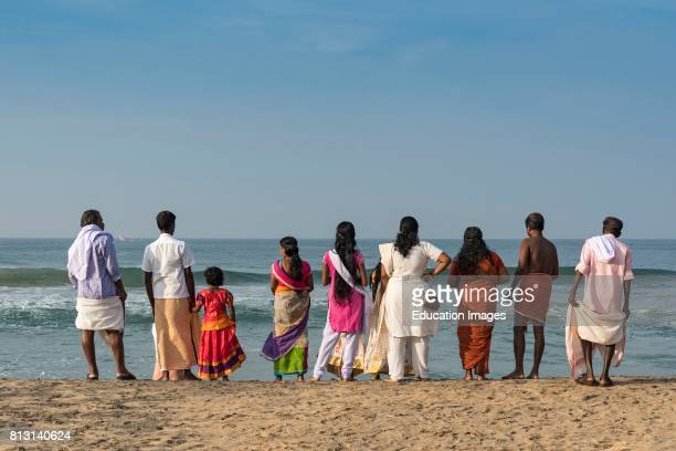 People at Varkala Papanasham Beach India