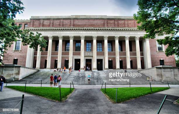 people at widener library at harvard yard of harvard university - ivy league university stock photos and pictures