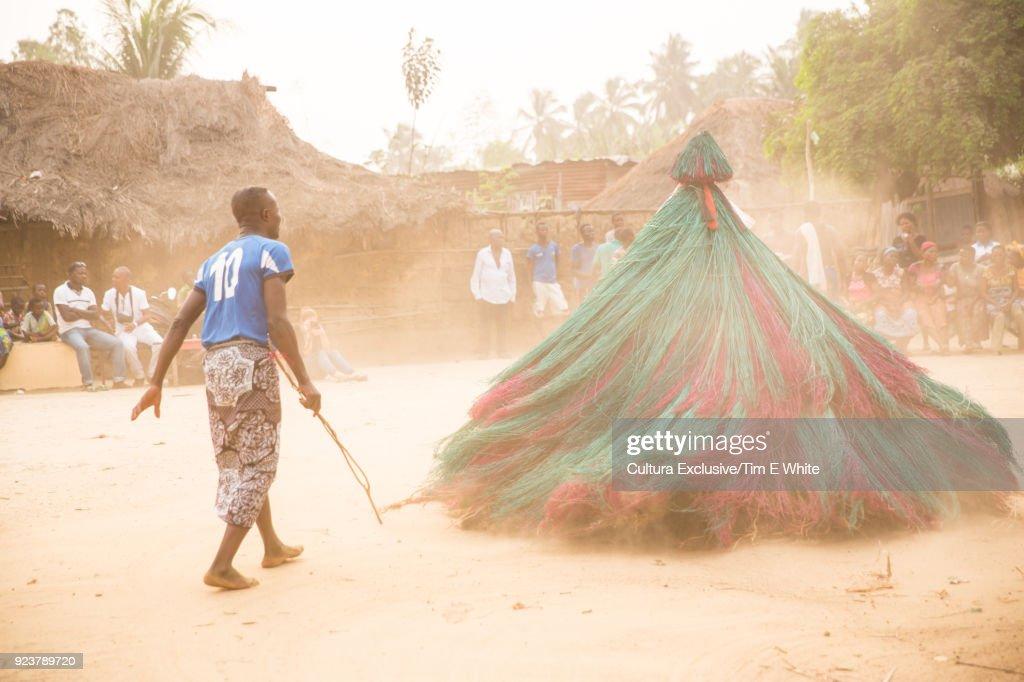 People At Zangbeto Ritual In Village Near Grandpopo Benin