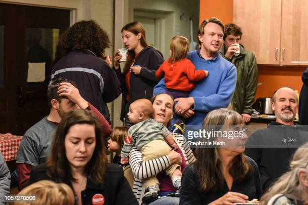 People attend a campaign event for Democratic gubernatorial candidate Christine Hallquist on November 4, 2018 in Montpelier, Vermont. Hallquist made...