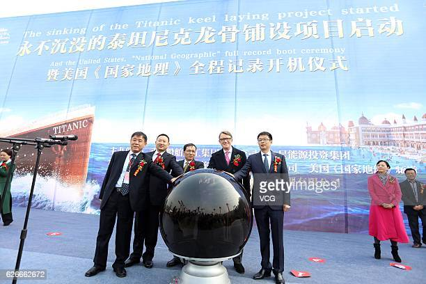 People attend a ceremony to start The Sinking of Titanic Keel Laying Project on November 30 2016 in Suining Sichuan Province of China The Sinking of...