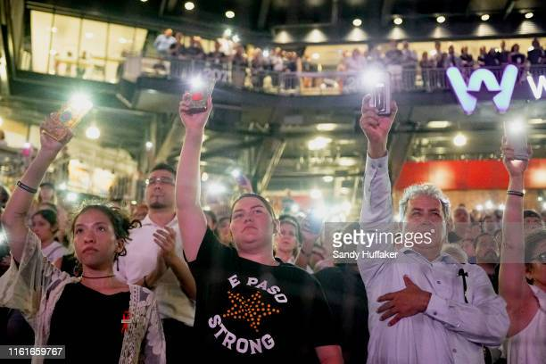 People attend a community memorial service honoring victims of the mass shooting earlier this month which left 22 people dead and 24 more injured, at...