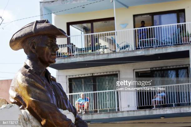 People attend a dedication ceremony for a monument of General Omar Torrijos former President of Panama after it was inaugurated by his son and...