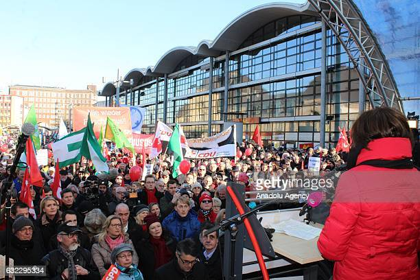People attend a demonstration against the conference of European rightwing party ENF Europe Nations and Freedom in Koblenz Germany 21 January 2017
