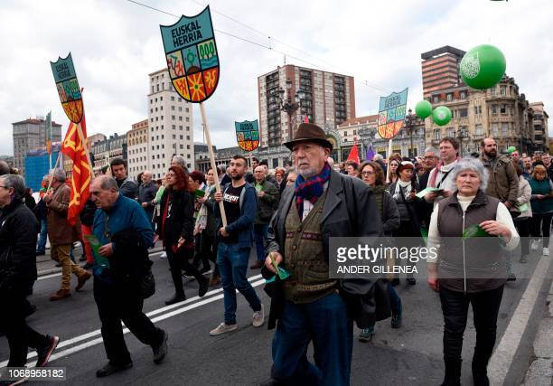 People attend a demonstration against the Spanish Constitution and in favor of a Basque Republic in Bilbao on December 6 on the 40th anniversary of...