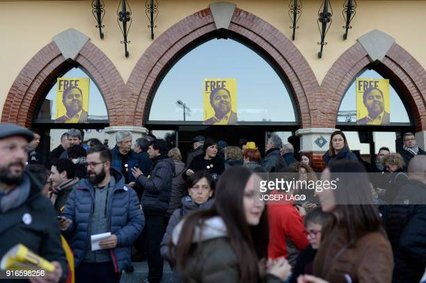 People attend a demonstration marking the 100 days of Catalonia's jailed former vice president Oriol Junqueras´arrest at Sant Vicenc dels Horts on...
