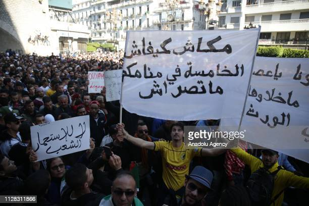 People attend a demonstration to protest against candidacy of President Abdelaziz Bouteflika for a fifth term in Algiers Algeria on March 01 2019...