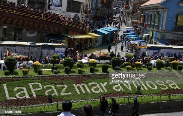 People attend a funeral procession for the people killed during the security officers intervention at the El Alto city on November 21, 2019 in La...