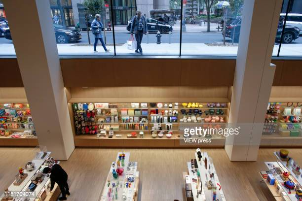 People attend a media preview on the newlyexpanded Museum of Modern Art on New York City on October 17 2019 The museum reopens to the public on...