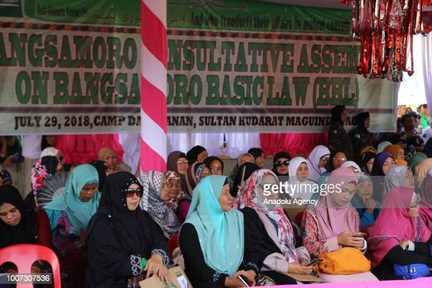 People attend a meeting named 'Bangsamoro Consultation Meeting' held by Moro Islamic Liberation Front to evaluate the Bangsamoro Organic Law for Moro...