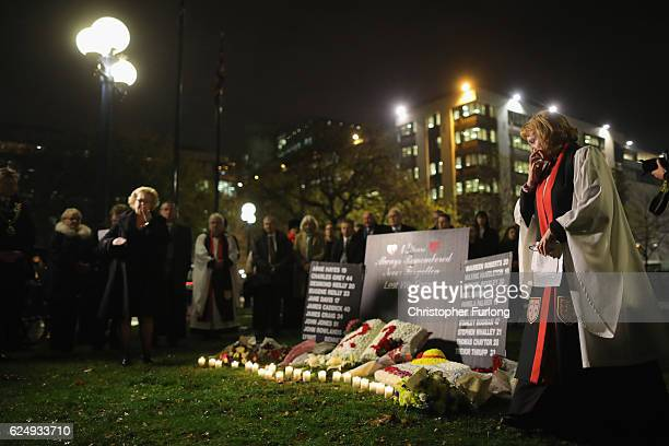 People attend a memorial service and vigil at Birmingham Cathedral to mark 42 years since the Birmingham pub bombings on November 21 2016 in...