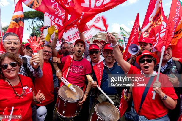 People attend a national strike and demonstration for workers in the cleaning and integrated services/multiservice sectors on May 31, 2019 in Rome,...