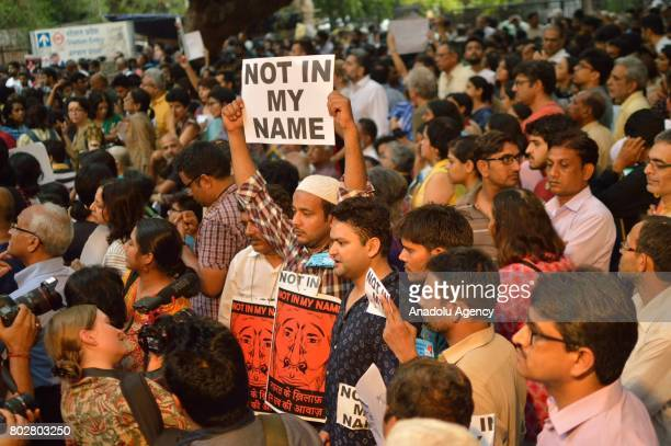 People attend a 'Not in my Name' protest against spate of antimuslim killings in India at Jantar Mantar in New Delhi India on June 28 2017