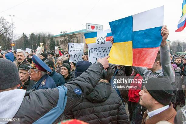 People attend a pro-Russia rally in Kharkiv, Ukraine, on March 5, 2014.