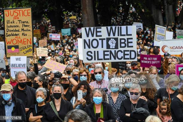 People attend a protest against sexual violence and gender inequality in Melbourne on March 15, 2021.