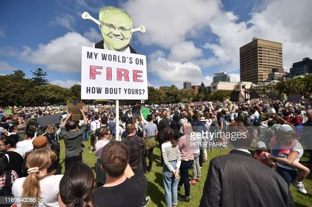 People attend a protest as part of the worlds largest climate strike in Sydney on September 20 2019 Children in Australia and the Pacific Islands...