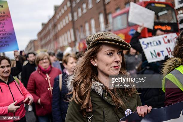 People attend a protest held in solidarity with the Washington DC Women's March in Dublin Ireland on January 21 2017