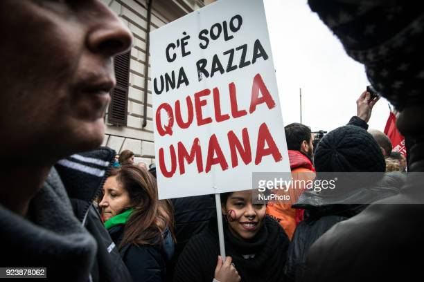 People attend a rally against racism and fascism staged by Italian Partisans Association ANPI in Rome Italy 24 February 2018 Italy will hold general...