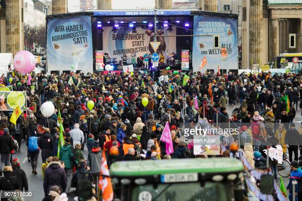 People attend a rally against the agroindustry on January 20 2018 in Berlin Germany Marchers whose protest is coinciding with the International Green...