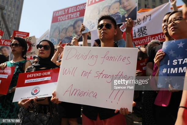 People attend a rally in support of detained Chinese national Xiu Qing You on June 18 2018 in New York City You a Queens father who has been in the...