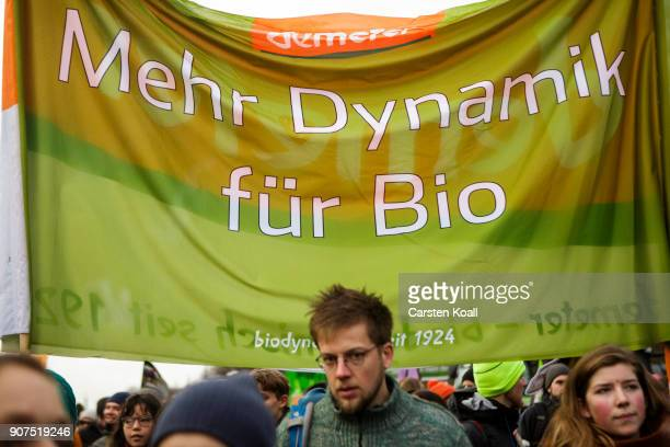 People attend a rally to demonstrate against the agroindustry on January 20 2018 in Berlin Germany Marchers whose protest is coinciding with the...