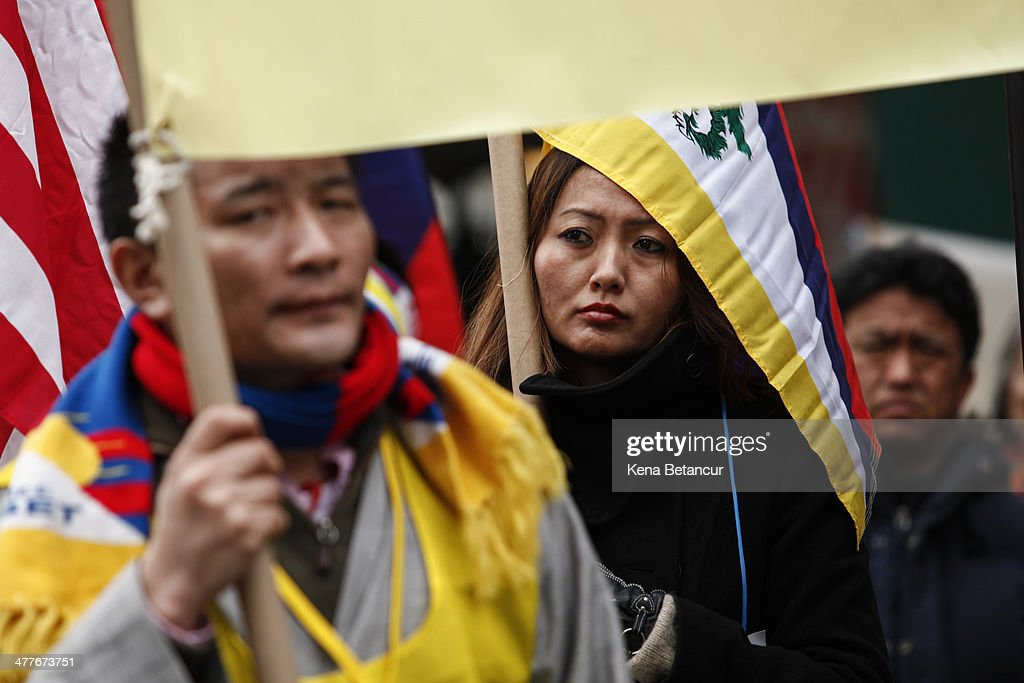 Chinese Activist Chen Guangcheng Attends Tibetan Protest Outside Of United Nations : News Photo