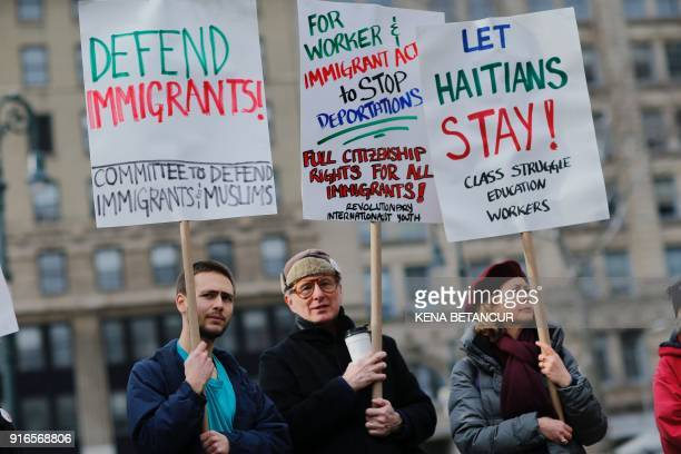 People attend a rally with Immigrant rights activist Ravi Ragbir a day after he granted temporary stay of deportation in Foley Square on February 10...