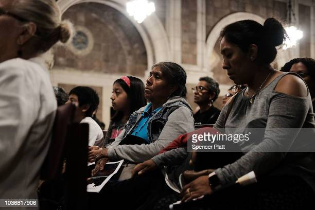 People march to Trump Tower following a service at St Bartholomew's Church for the one year anniversary of Hurricane Maria which cut through Puerto...