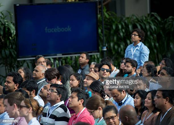 People attend a Townhall meeting with Indian Prime Minister Narendra Modi and Facebook CEO Mark Zuckerberg at Facebook headquarters in Menlo Park,...