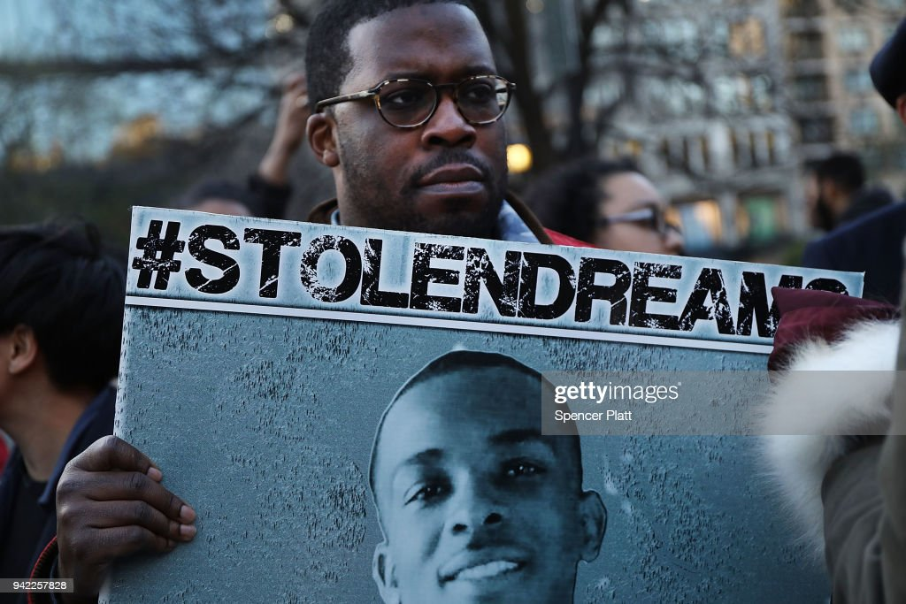 Vigil And Rally Held For Stephon Clark In NYC On 50th Anniversary Of MLK's Assassination : News Photo