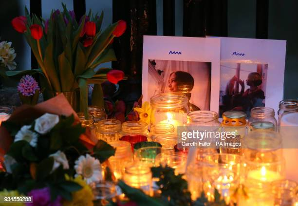 People attend a vigil honouring Anna Campbell in her home town of Lewes East Sussex as the British woman who died fighting with a Kurdish armed unit...