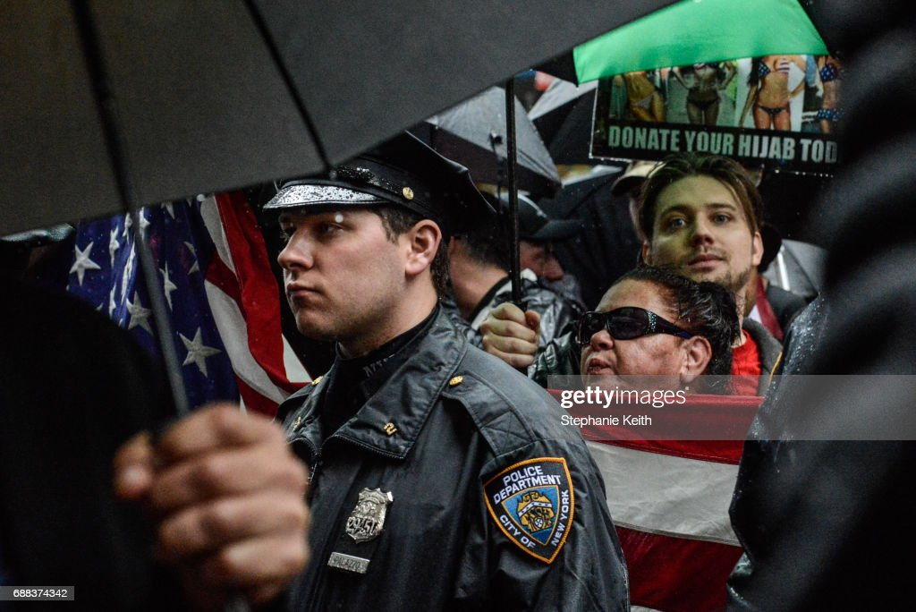 People attend an Alt Right protest of Muslim activist Linda Sarsour on April 25, 2017 in New York City.
