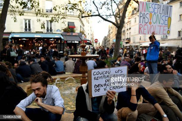 People attend an event called 'BenallApero' on October 9 2018 at Contrescarpe square in Paris a site where former Elysee senior security officer...