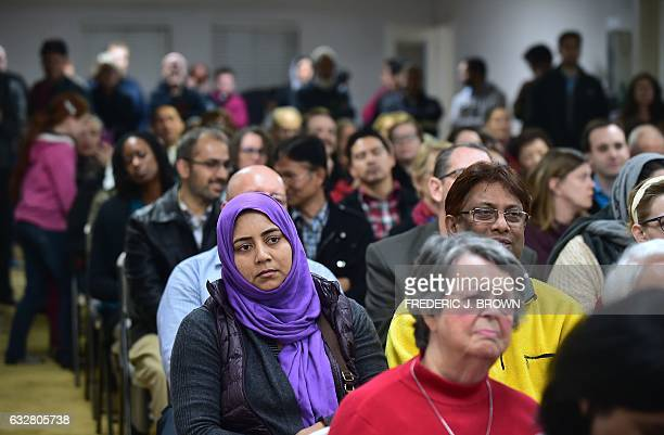 People attend an interfaith solidarity event at Masjid Gibrael Mosque in San Gabriel California on January 26 where religious and community leaders...