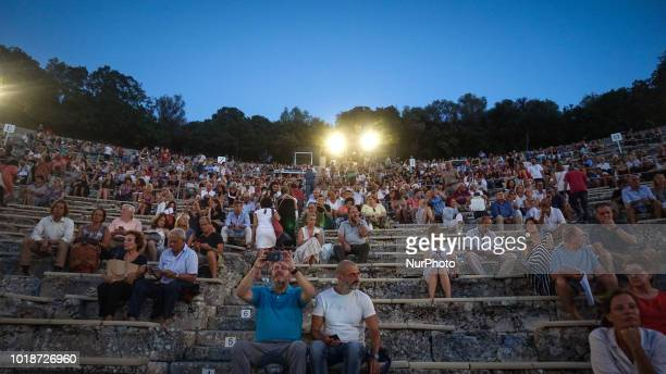 A man paints at the ancient theater of Epidaurus ahead start the performance of Oedipus at Colonus by Sophocles In Epidaurus Greece August 2018 The...