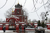 moscow russia people attend church service