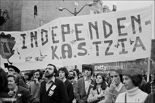 People attend demonstration against Basque extradition on April 08 1979 in Bilbao Spain
