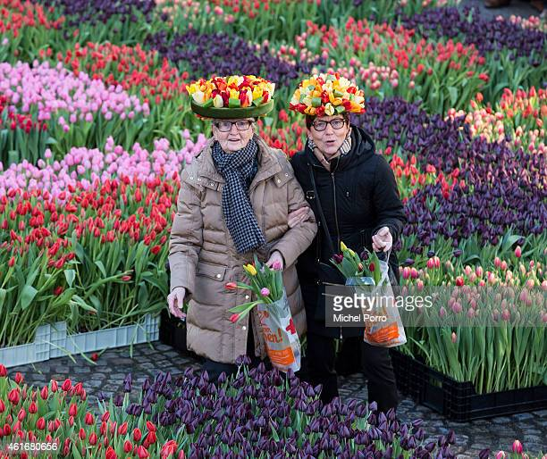 People attend Dutch National Tulip Day in front of the Royal Palace at Dam Square with the theme 'share joy, give tulips', on January 17, 2015 in...