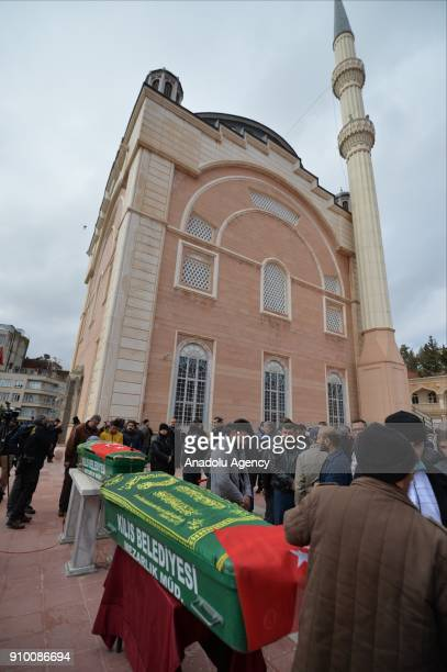 People attend funeral ceremony of Muzaffer Aydemir and Tarik Tabbak who lost their lives after members of PKK/PYD terrorist organization in Afrin...