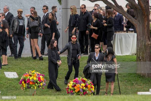 People attend funeral services for Soundgarden frontman Chris Cornell at Hollywood Forever Cemetery on May 26 2017 in Hollywood California The...