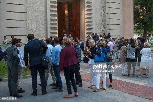 People attend funerals for Maria Villar Galaz niece of the president of the Spanish Football Federation Angel Maria Villar in the northen Spanish...
